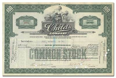 Childs Company Stock Certificate (Famous Coney Island Restaurant)