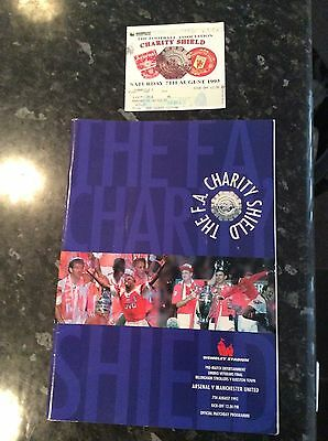Ticket And Programme  Manchester United V Arsenal Fa Charity Shield 1993