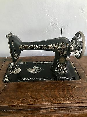 Antique 1910 Singer Treadle Sewing Machine with Cabinet Cast Iron Base