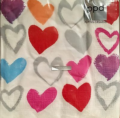 PPD Paper Hearts White Pack Of 20 Paper Napkins Made In Germany For Decoupage