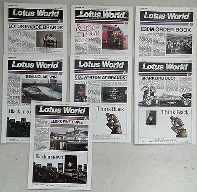 Job lot of Seven 1985 Lotus World Magazines - JPS, F1 Grand Prix & More