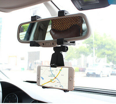 Car Rear View Mirror Mount Holder Stand Cradle Bracket For Cell Mobile Phone GPS