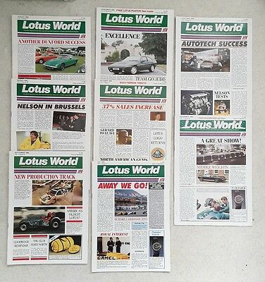 Job lot of Eight 1988 Lotus World Magazines - JPS, F1 Grand Prix & More