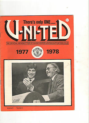 1977/8  Manchester United Supporters Club Magazine-------Volume 9, Number 3