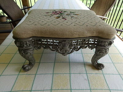 Vintage Victorian Cast Iron Foot Stool with Needlepoint Cover