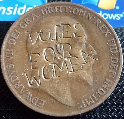 Mega Rare Suffragette Original Defaced Votes For Women Edward Vii Uk Coin Hunt
