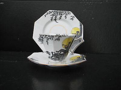 Melba Art Deco Pan Playing Pipes Octagonal Tea Trio Cup Saucer Plate