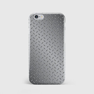 3D Full Cover Printed Case for iPhone - Gun Metal Silver Pattern