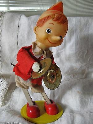"""Vintage Wind-Up Cymbal Playing 11"""" Figure /boy- Tin Toy- Made In  Japan"""
