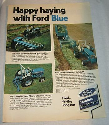 1975 Ford Blue Farm Tractor Equipment Attachments Ad - Happy Haying Mower Baler