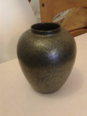 Black Petrol Lustre Poole Pottery Vase - 8.5 Inches