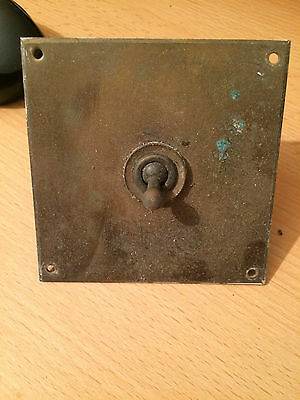 Old Vintage Antique Brass Light Switch Square Plate , no1