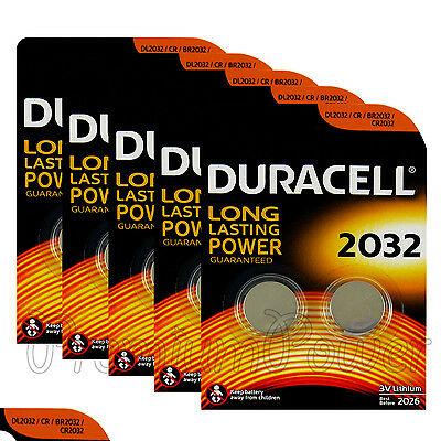10 x Duracell CR2032 batteries Lithium Coin Cell 3V BR2032 DL2032 3V Pack of 2