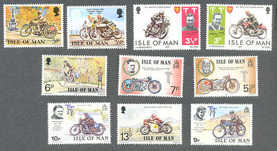 Motorcycles-TT Races-Motorbikes 10 diff Isle of Man mnh sstamp collection