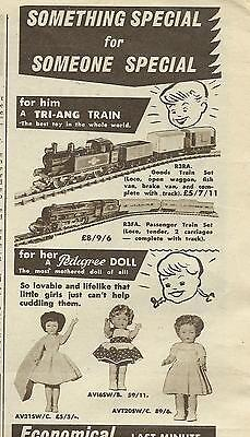 Australian Women's Weekly 1960  Advert For Pedigree Dolls & Tri-Ang Trains
