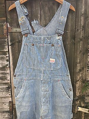 VTG 50s PENNEYS PAY DAY HICKORY STRIPE DENIM WORK OVERALLS BIB DUNGAREES W32 L31