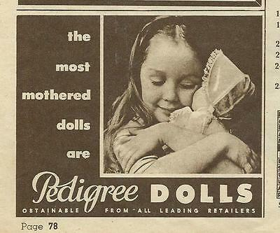 Australian Women's Weekly 1960  Advert For Pedigree Dolls  B & W Small Add