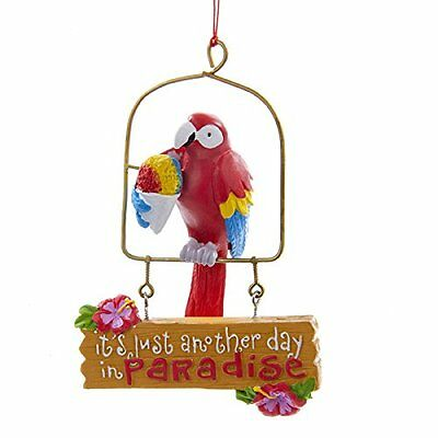 Just Another Day In Paradise Red Parrot Ornament Kurt Adler Tropical Beach Party