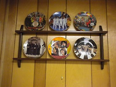 The Beatles Delphi Bradford Exchange Plates - All 6 & Custom Wooden Wall Mount