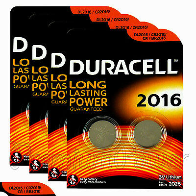 8 x Duracell CR2016 batteries Lithium Coin Cell DL2016 CR BR2016 3V Pack of 2