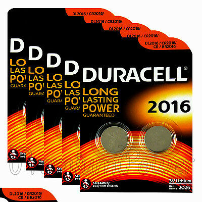 10 x Duracell CR2016 batteries Lithium Coin Cell DL2016 CR BR2016 3V Pack of 2