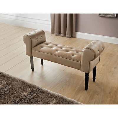 Diamante Buttons Damask Chaise Lounge Bench Decorative Sofa - Champagne