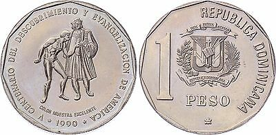 COIN Dominican Republic 1 Peso 1990 KM# 77 Discovery and Evangelization UNC