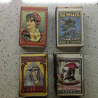 "4 SCATOLE FIAMMIFERI VINTAGE "" SAFETY MATCHES made in Sweden """