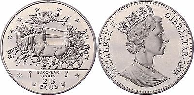 COIN Gibraltar 2.8 Ecu 1994 KM# 489 Mythology - Winged Victory UNC