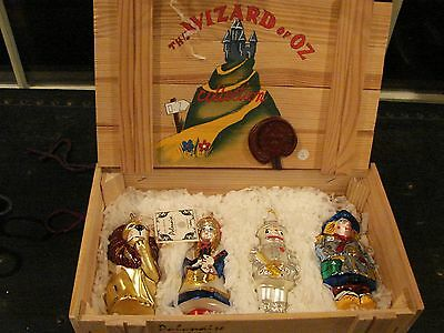 Wizard of Oz Polonaise Collection 4-Pc Hand Blown Glass Ornaments in box