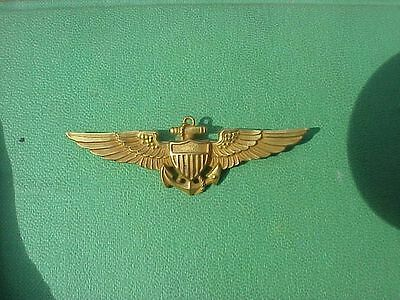 Original Scarce Wwii Naval Aviator Wings - Solid 10K Gold - Full Size - H&h