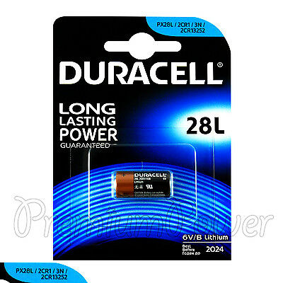 1 x Duracell Lithium 28L battery 6V PX28L 2CR1/3N 2CR13252 4LR44 Camera EXP:2024
