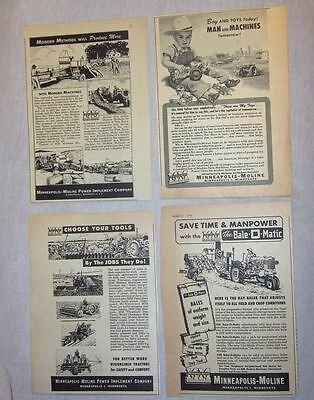 Lot of 4 Ads - Minneapolis-Moline - 1946-1951 - Tractor Hay Baler Plow Planter