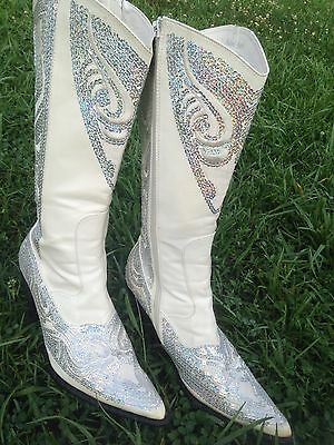 Helen's Heart White Sequin Western Cowboy Wedding Boots Size 10 Womens