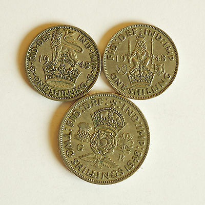 Set of three 1948 coins – Both English and Scottish shillings & a florin