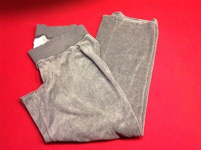 Womens Motherhood Oh Baby Under Belly  Grey Velour Comfy Pants Size Large