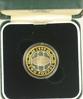 1999 RUGBY WORLD CUP £2 SILVER PROOF - boxed/coa/outer