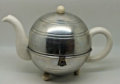 """Vintage Retro Art Deco Teapot With Chrome Opening Hinged Cover """"nevvacold"""""""