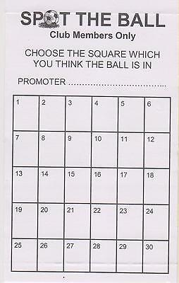 30 space spot the ball cards - 25 or 50 pack