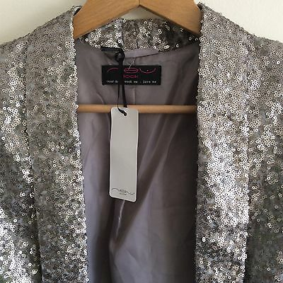 New! New Look Jacket/blazer, Grey/pewter Sequins, Long Sleeve, Lined, Uk 8.
