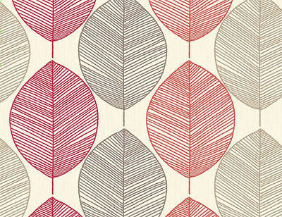 Retro Leaf Red Gold Cream Ghana Leaf Quality Feature Arthouse Wallpaper 408205
