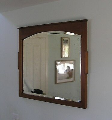 Art Nouveau Satin Wood Wall Mirror 2