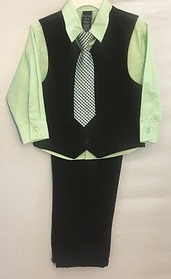 NEW Toddler Boys Nautica 4 Piece Pinstripe Suit with Tie Green Black Blue 3T