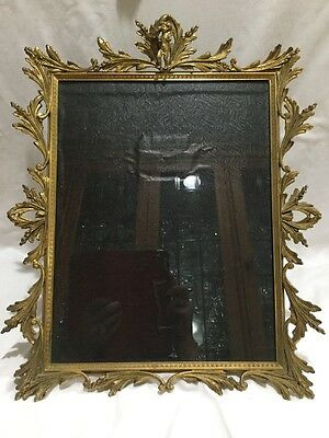 """Large Antique Baroque Brass Picture Frame Angel Cherub 17"""" X 14"""" Wall Or Mantel"""