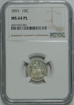 1891 Liberty Seated Dime MS64 Proof-like NGC *Scarce*