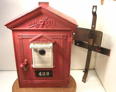 Vintage Gamewell Fire Alarm Box W/key & Intact Working Interior