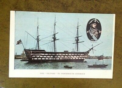 c1905 HMS VICTORY in PORTSMOUTH HARBOUR Postcard ~ Lord Nelson