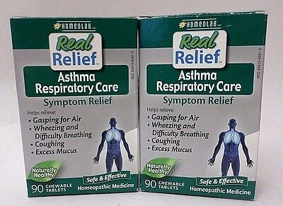 Homeolab Real Relief Asthma Respiratory Care 90 Chewable Exp 02/18 + LOT OF 2