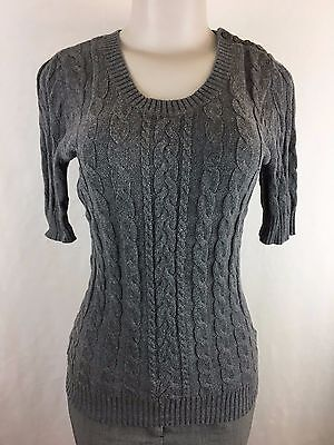 A Pea In The Pod Women's Gray Sweater Size S Cable Knit Cotton/Wool Blend CL-10