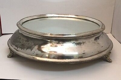 Large Antique / Vintage Silver Plate Footed Wedding Cake Stand 15""